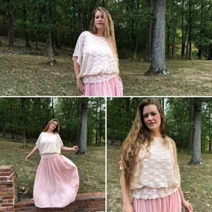 Shabby Chic Vintage Lace Cinch Dolman Blouse Top